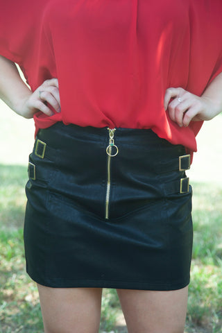 Let's Win This Leather Skirt - Cotton Charm Boutique