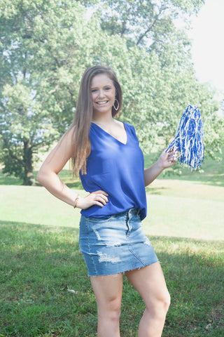Take Your Pick Tank Top-Royal Blue - Cotton Charm Boutique