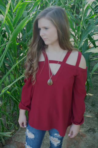 Lady In Red Top - Cotton Charm Boutique
