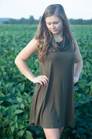Lost in Your Eyes Olive Dress - Cotton Charm Boutique