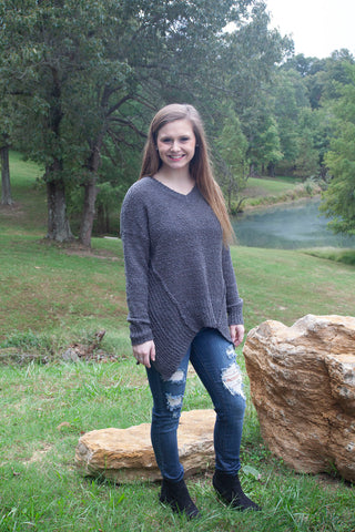Oh So Cozy Charcoal Sweater - Cotton Charm Boutique