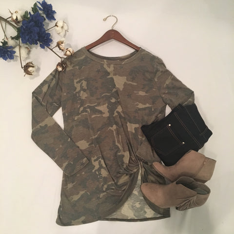 Catch Me If You Camo Long Sleeve Top - Cotton Charm Boutique