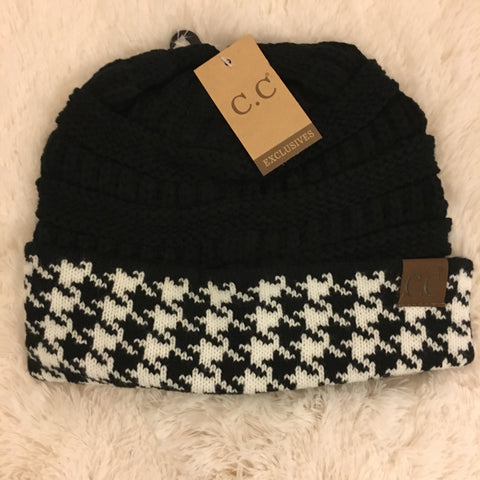 CC Houndstooth Beanie - Cotton Charm Boutique