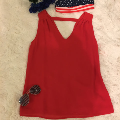 Take Your Pick Tank Top- RED - Cotton Charm Boutique