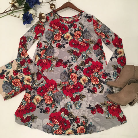 Brave Enough To Dream Floral Print Dress - Cotton Charm Boutique