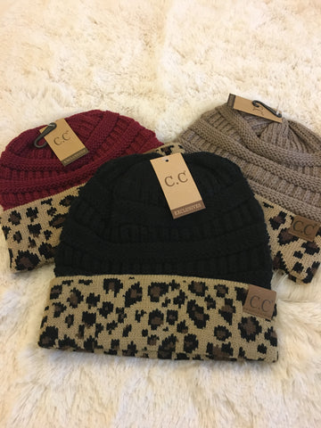 CC leopard Print Beanie - Cotton Charm Boutique