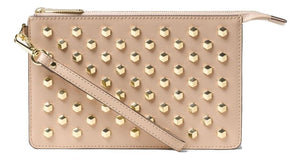 Michael Kors Studded Wristlet Daniela Faceted Medium OYSTER Gold-tone $148 - NWT