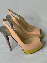 Christian Louboutin 150mm lady peep tricolor slingback patent heels 40/ 10