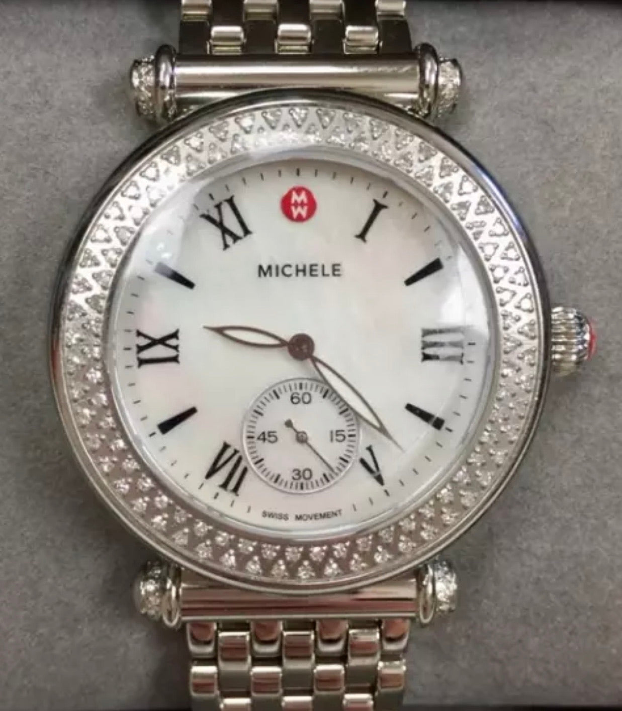 Michele Caber silver stainless Steele 18mm diamond watch