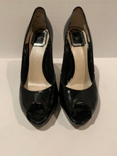 Christian DIOR black patent peep toe pumps heels size 38