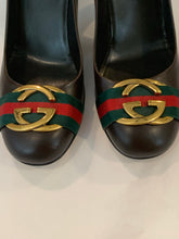 Gucci GG web brown leather pumps heels size 10.5 US / 40.5 EU
