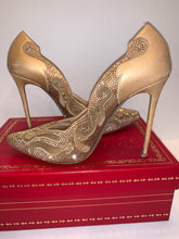 WOW ! Rene Caovilla Strauss gold satin embellished heels