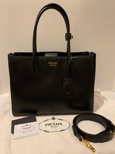 Prada soft Bibliotheque city calf black tote satchel