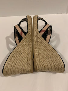 Burberry nova check wedge espadrille sandals Size 9