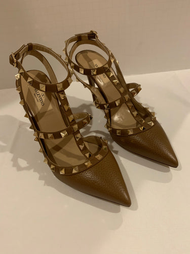 Valentino Garavani brown leather rockstud pumps heels size 8.5