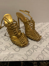 GUCCI gold strappy caged heels , super sexy size 39