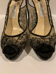 Jimmy Choo Black Lace Patent Leather Pumps Size 39