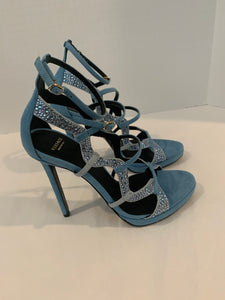 Versace caged embellished suede heels baby blue size 37.5