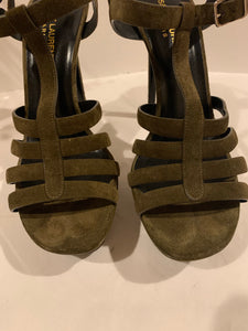 Saint Laurent YSL tributes olive green suede Size 40/10