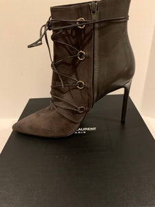 Saint Laurent grey tie up suede/leather booties Size 40.5