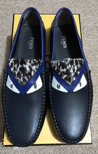 Rare FENDI monster navy blue men's loafers size 9