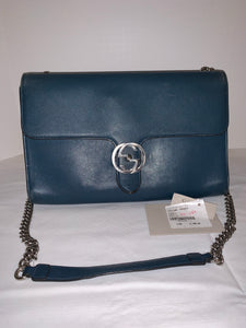 Gucci supreme medium GG interlocking dark teal blue leather flap shoulder bag