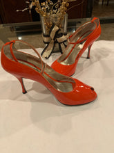 Dolce & Gabbana Orange patent leather peep toe ankle strap heels pumps size 10