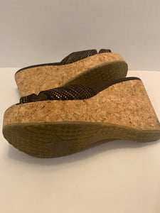 Jimmy Choo Wedge, Black/Gold Suede Cork Wedge 38.5