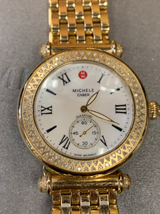 MICHELE Caber 18mm gold and diamond MOP watch in box