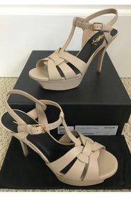 Saint Laurent YSL tribute sandals heels- Nude 40