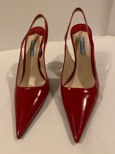 PRADA pointed red leather slingback heels Size 39.5