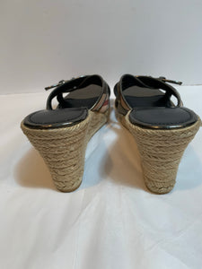 Burberry Nova Check Wedge Espadrille Sandal SZ 11