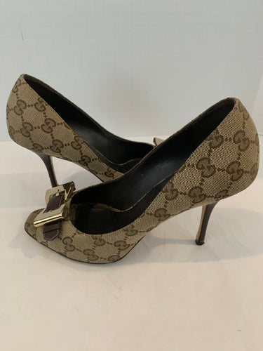 Gucci guccisimma brown canvas pumps size 8
