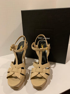 Saint Laurent Tribute 105 Patent Leather Sandals Size 38.5