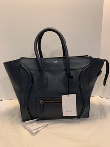 Authentic CELINE Mini Luggage Handbag in Drummed Calfskin Leather -Navy Blue
