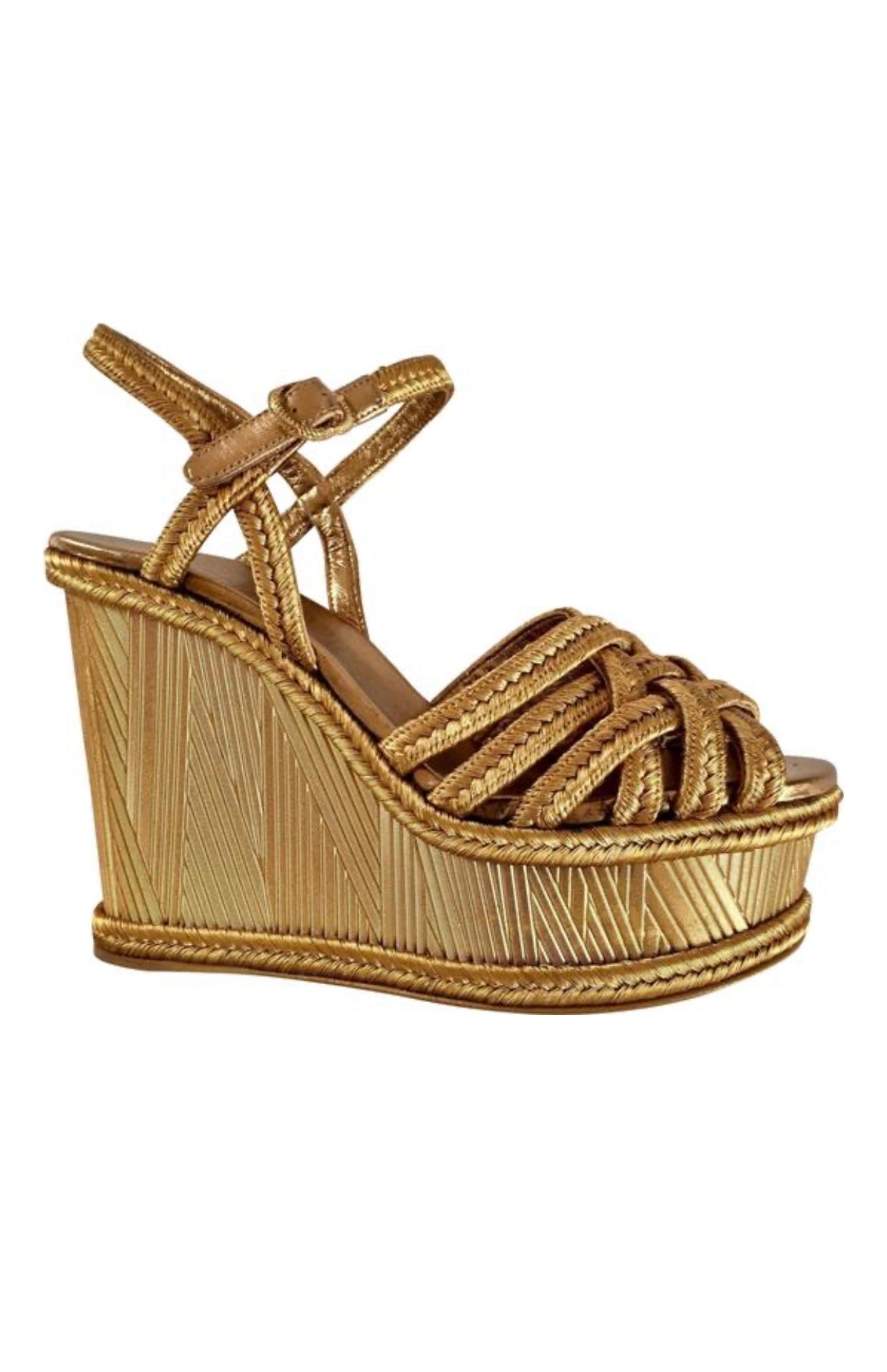 Chanel gold woven wedge sandal heel size 7