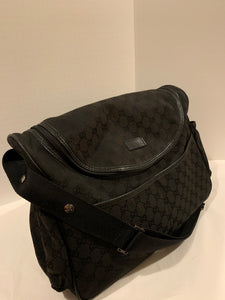 Gucci Black GG Gucci Monogram Canvas Unisex Baby Diaper Bag