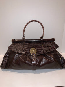 FENDI crocodile brown leather large satchel handbag
