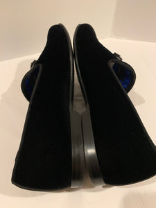 FENDI KARL PATCHES VELVET & MINK LOAFERS IN BLACK SIZE 9