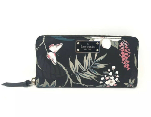 Kate Spade Wilson Road Botanical Floral Neda Nylon Black Wallet WLRU5302 $159