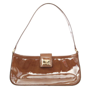 SALVATORE FERRAGAMO Small drab olive patent leather Shoulder Bag Clutch