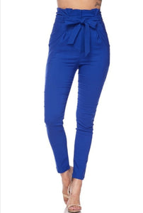 Royal Blue Paper Bag Skinny Pants