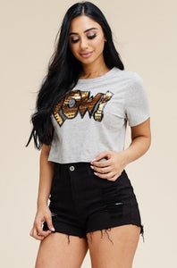 Short Sleeve Cropped Top - Snow White