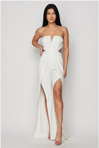 Ready To White Party Open Leg Jumpsuit