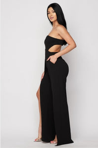 Ready To Black Party Open Leg Jumpsuit