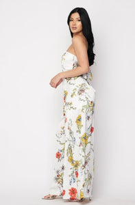 Floral Printed Jumpsuit - White