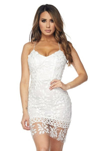 Graceful Lace White Midi Dress