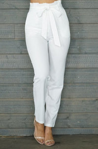 White Classic Paper Bag Pants