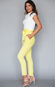 Yellow Paper Bag Skinny Pants