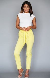 Yellow Classic Paper Bag Skinny Pants